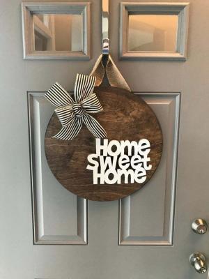 Kapı Süsü Home Sweet home Çelenk