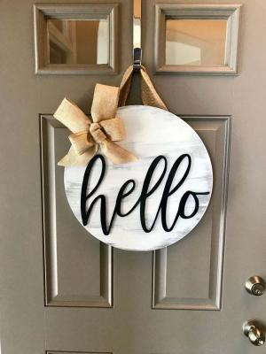 Kapı Süsü Merhaba Çelenk Hello Beyaz