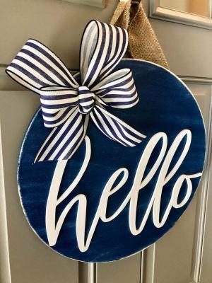 Ahşap Kapı Süsü Hello Dış Kapı Çelenk