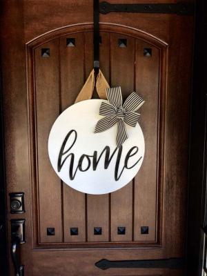 Ahşap Kapı Süsü Home Çelenk Ev