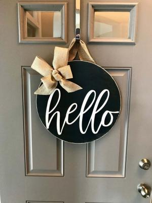 Kapı Süsü Merhaba Çelenk Hello Siyah