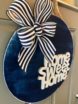 Kapı Süsü Home Sweet home Çelenk Mavi