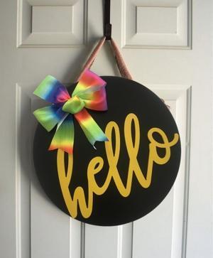 Dış Kapı Süsü Modern Ahşap Siyah Hello
