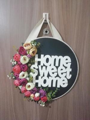Çiçekli Kapı Süsü Home Sweet home Çelenk