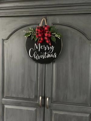 Yılbaşı Kapı Süsü Yeni Yıl Çelengi Ahşap