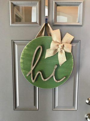 Modern Kapı Süsü Hi Kapı Çelenk Yeşil
