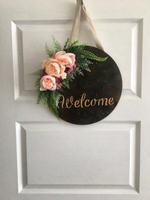 Çiçekli Kapı süsü Welcome Hoşgeldin Çelenk