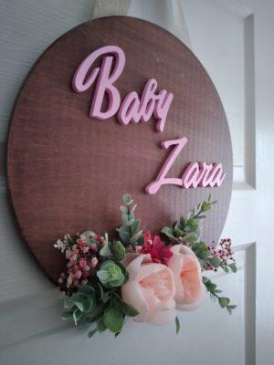 Kız Bebek Çocuk Hastane Yeni Doğan İsme Özel Kapı Süsü